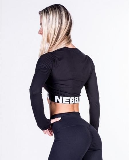 NEBBIA - Bluzka z długim rękawem MODEL N269 BLACK NEBBIA