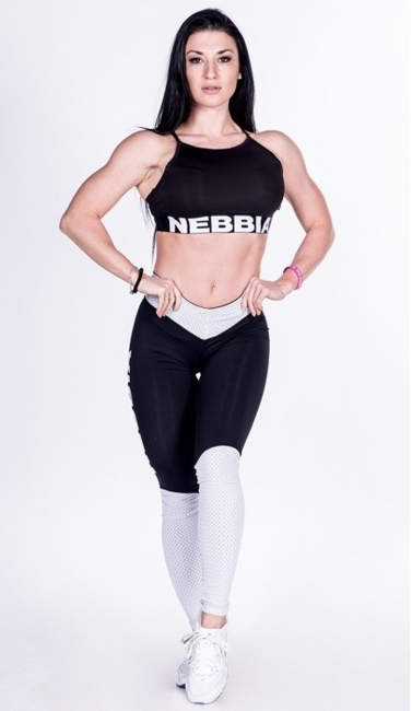NEBBIA - LEGGINSY  N280 BLACK/WHITE (PUSH UP)