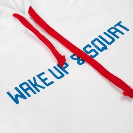 WAKE UP AND SQUAT - GIRLS HOODIE (white)