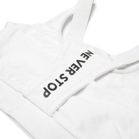 WAKE UP AND SQUAT - Stanik Sportowy NEVER STOP (white)