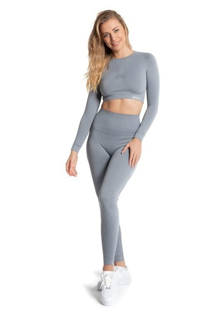 BEZSZWOWY CROP TOP BREEZE. LIGHT GREY