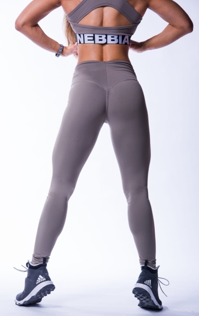 NEBBIA - Legginsy HIGH WAIST SCRUNCH BUTT N604 MOCHA (PUSH UP)