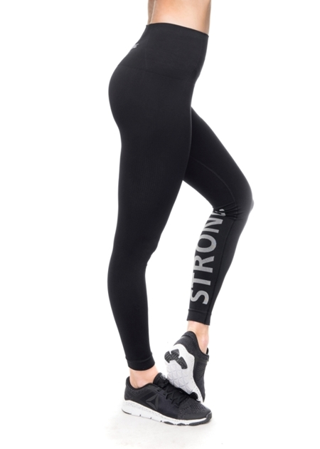 STRONG. - LEGGINSY BEZSZWOWE BLACK, LOGO (PUSH UP)