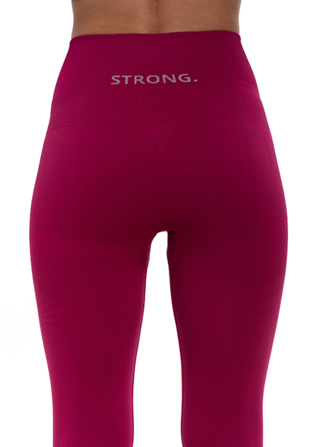 STRONG. - LEGGINSY BEZSZWOWE FUKSJA LOGO (PUSH UP)