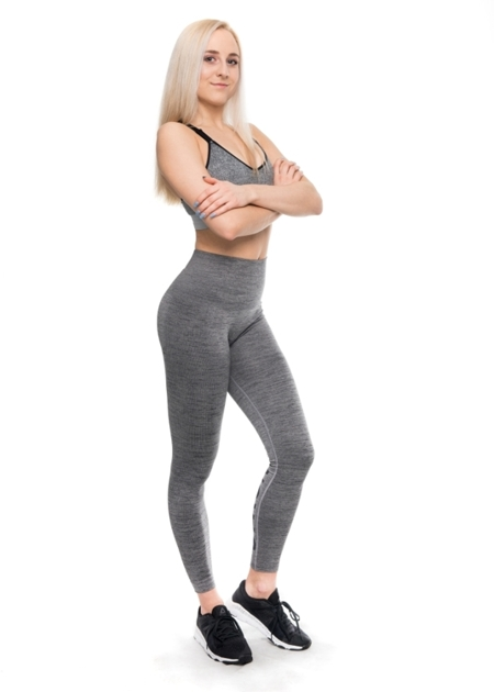 STRONG. - LEGGINSY BEZSZWOWE GREY MELANGE, LOGO (PUSH UP)