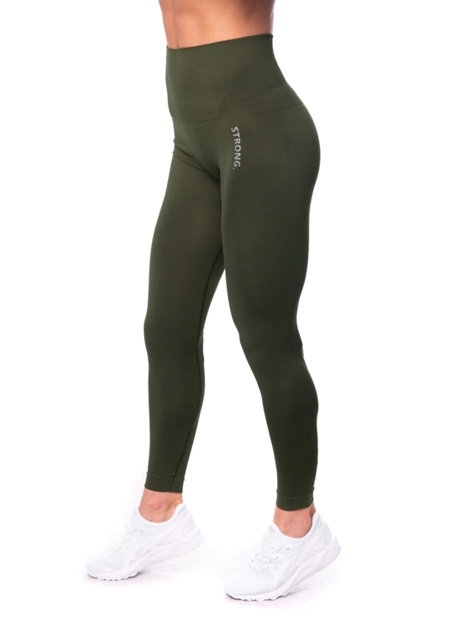 STRONG. - LEGGINSY BEZSZWOWE KHAKI, LOGO (PUSH UP)