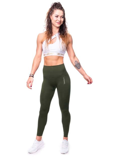 STRONG. - LEGGINSY BEZSZWOWE KHAKI (PUSH UP)