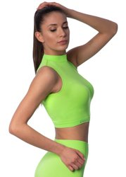 STRONG. - BEZSZWOWY CROP TOP, BEZ RĘKAWÓW (NEON YELLOW-GREEN)